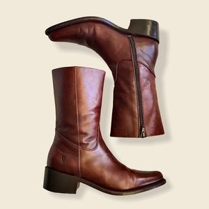 RARE Frye Rush Zip Cognac Mid-Calf Leather Boots
